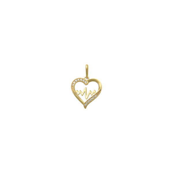 Icy Heartbeat Contour Pendant (14K) front - Popular Jewelry - New York