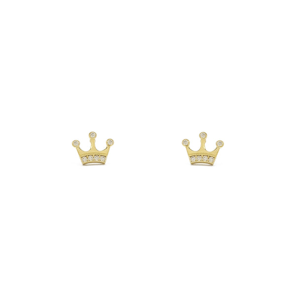 Náušnice Icy King Crown (14K) vpředu - Popular Jewelry - New York