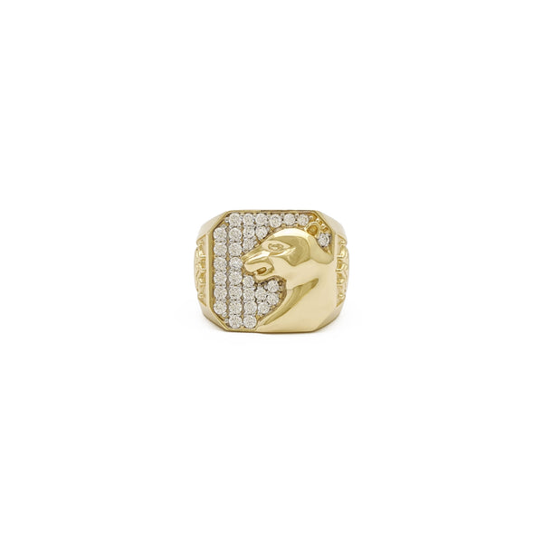 Icy Panther Signet Ring (14K) front - Popular Jewelry - Нью-Ёрк