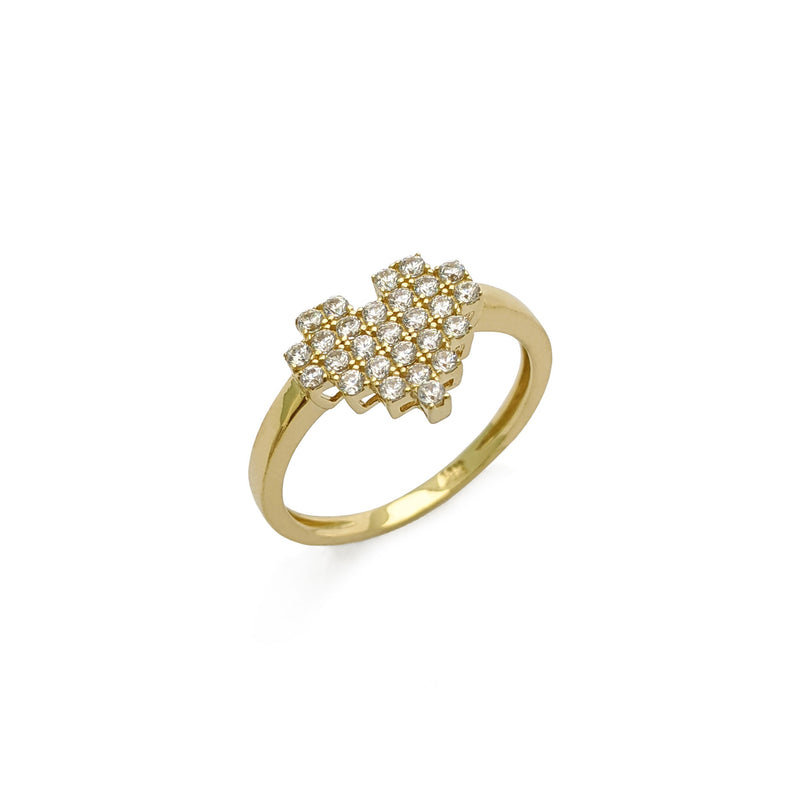 Icy Pixel Heart Ring (14K) diagonal - Popular Jewelry - New York