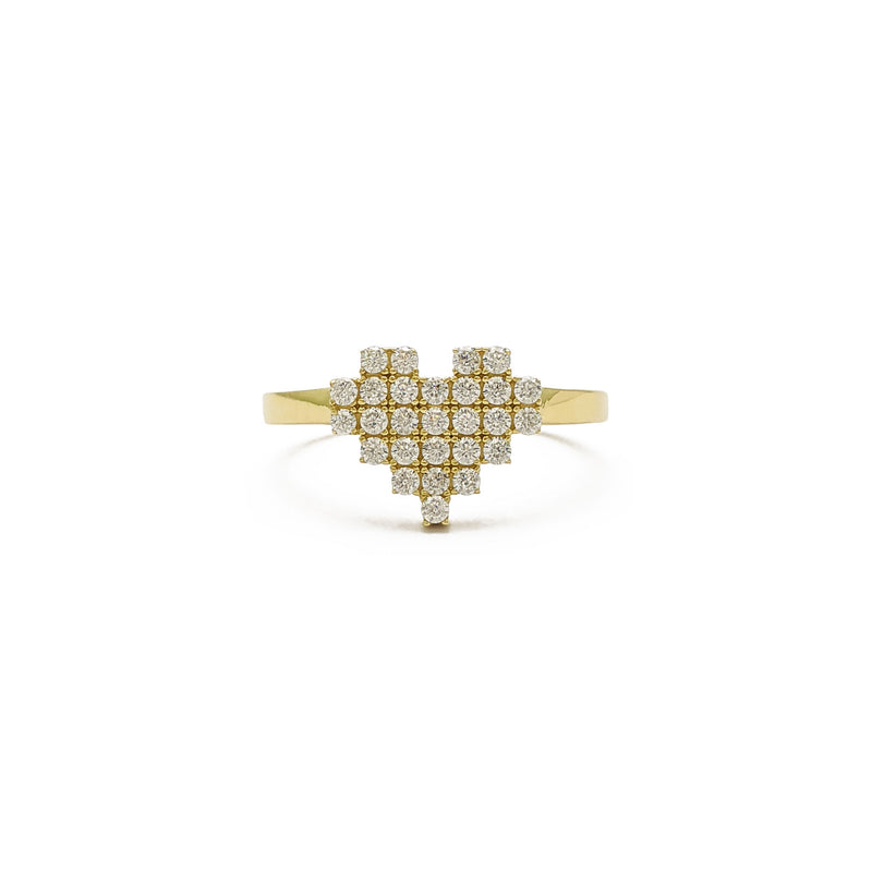 Icy Pixel Heart Ring (14K) front - Popular Jewelry - New York