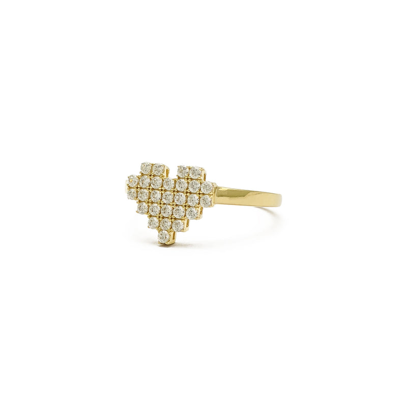 Icy Pixel Heart Ring (14K) side - Popular Jewelry - New York