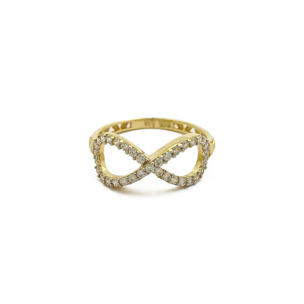 Stoneset Infinity Symbol Ring (14K) front - Popular Jewelry - New York