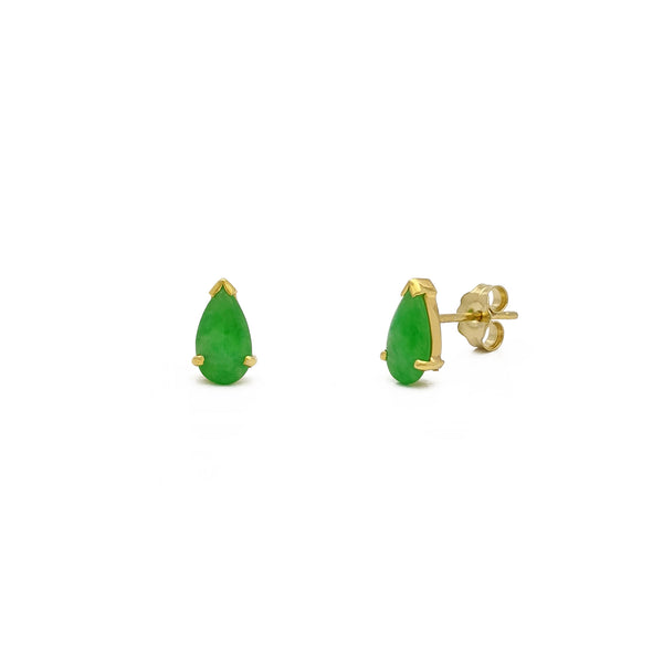 Jade Teardrop Stud Earrings (14K) main - Popular Jewelry - New York
