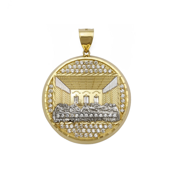 Last Supper Pave Medallion Pendant (14K) voorkant - Popular Jewelry - New York
