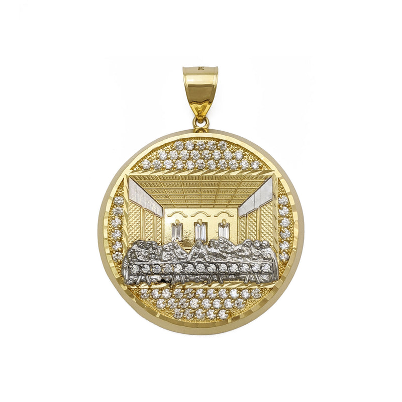 Last Supper Pave Medallion Pendant (14K) front - Popular Jewelry - New York