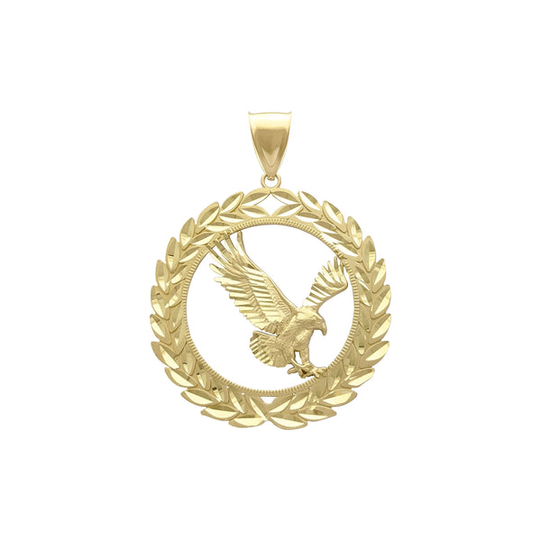 Laurel Wreathed Eagle Pendant (14K) front - Popular Jewelry - New York