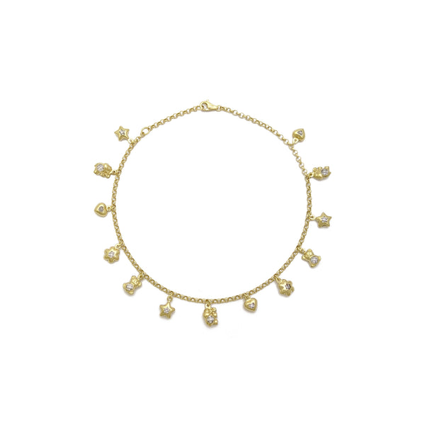 Lovely Charms Anklet (14K) front- Popular Jewelry - 뉴욕