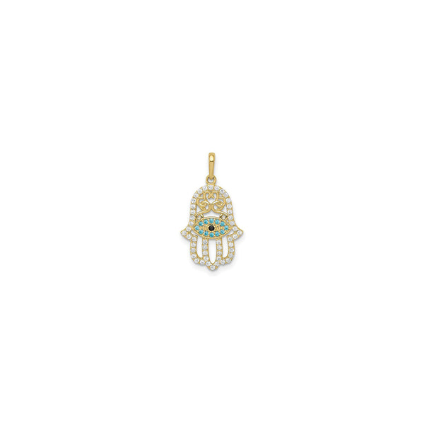 Pendente a Mano Hamsa Ghiacciato Multicolore (14K) davanti - Popular Jewelry - New York
