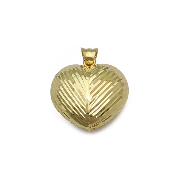 Oblique Stream Heart Pendant (14K) front - Popular Jewelry - New York