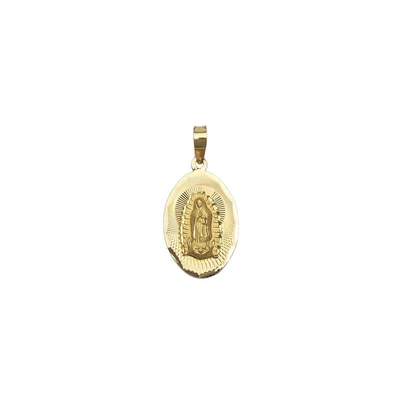 Our Lady of Guadalupe Radiant Oval Pendant Small (14K) front - Popular Jewelry - New York