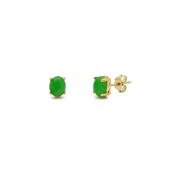 Oval Jade Stud Earrings (14K) main - Popular Jewelry - New York