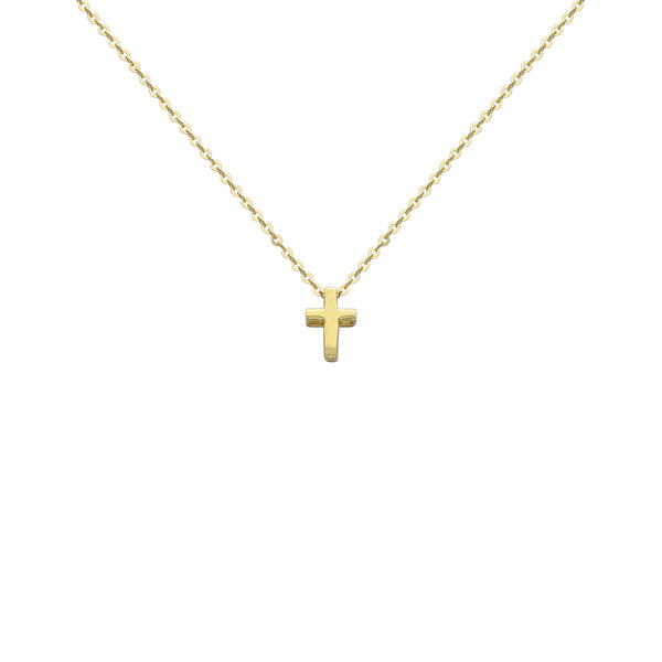 Petite Cross Charm Necklace yellow (14K) front - Popular Jewelry - New York