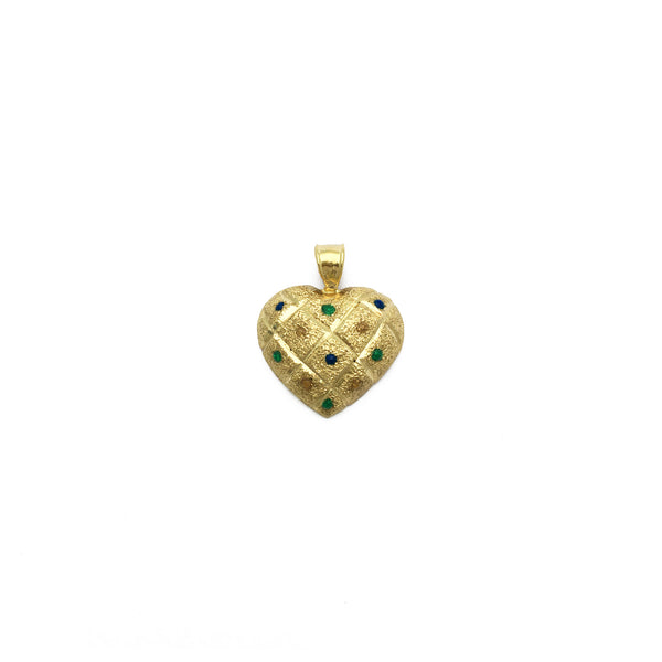 Quilted Dotted Heart Pendant (14K) front - Popular Jewelry - New York