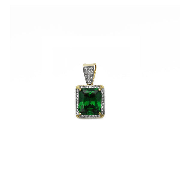 Sugárzó vágású Faux Emerald Halo medál (14K) elülső - Popular Jewelry - New York
