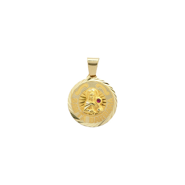 Saint Barbara Medallion Pendant (14K) front - Popular Jewelry - New York