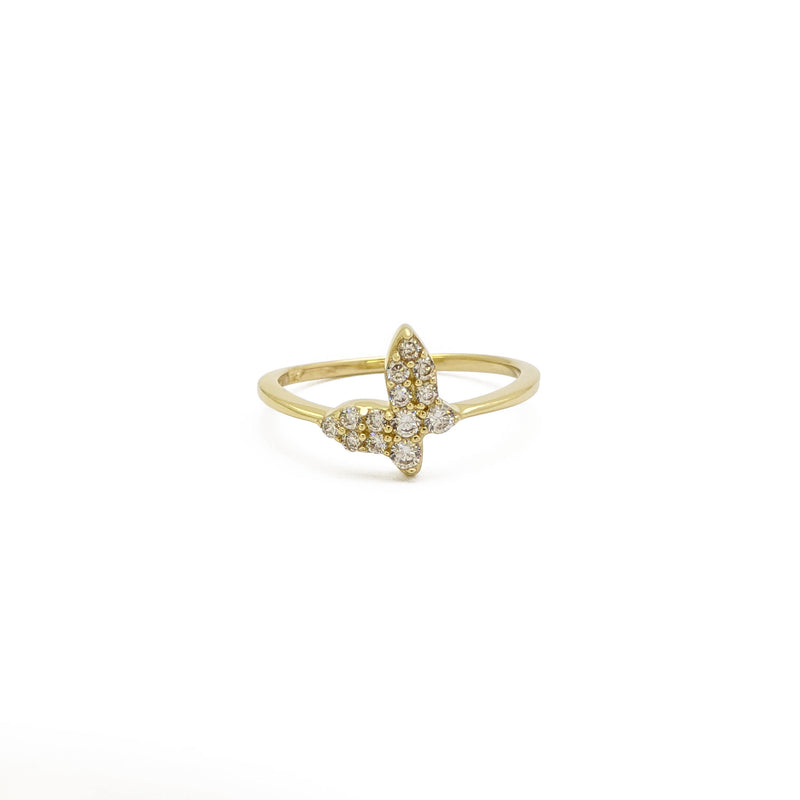 Sparkly Tilted Butterfly Ring (14K) front - Popular Jewelry - New York