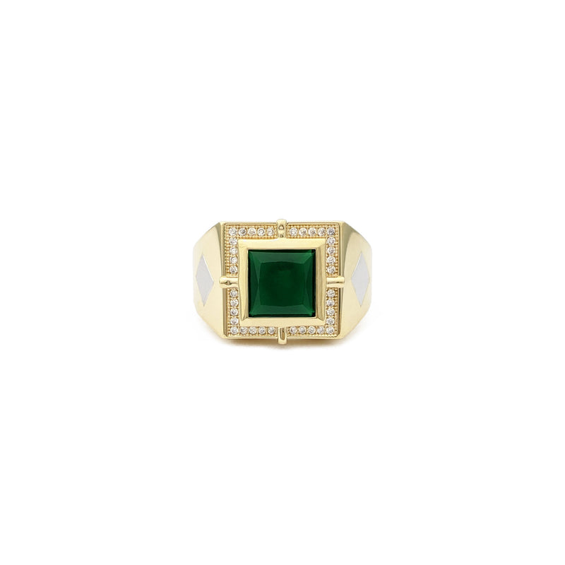 Square Faux Emerald Two-Toned Ring (14K) front - Popular Jewelry - New York