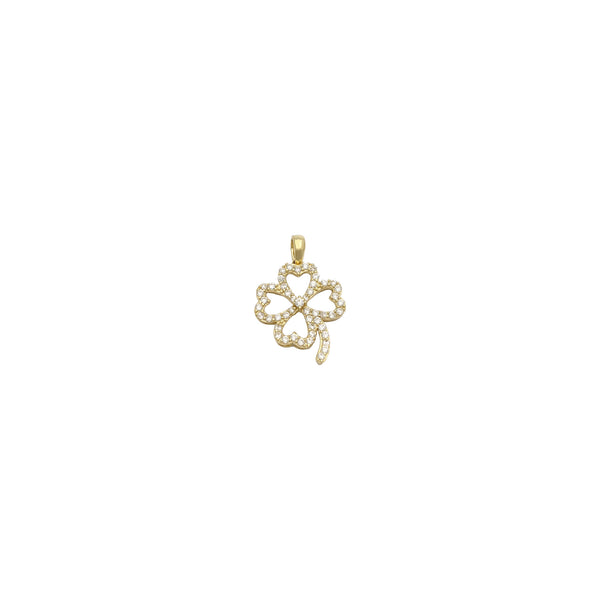 Pendente Stoneset Four Leaves Clover (14K) anteriore - Popular Jewelry - New York