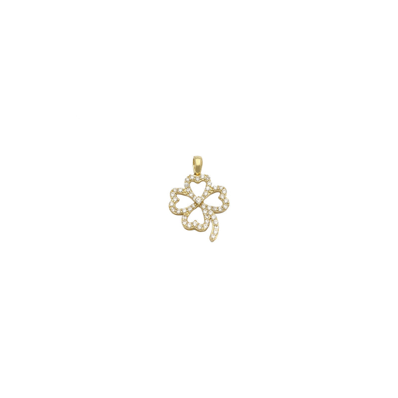 Stoneset Four Leaves Clover Pendant (14K) front - Popular Jewelry - New York