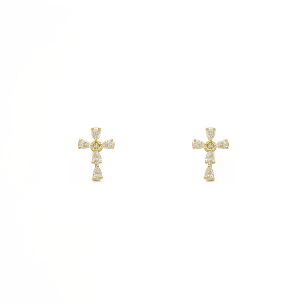 Teardrop Cross Stud Earrings (14K) framan - Popular Jewelry - Nýja Jórvík