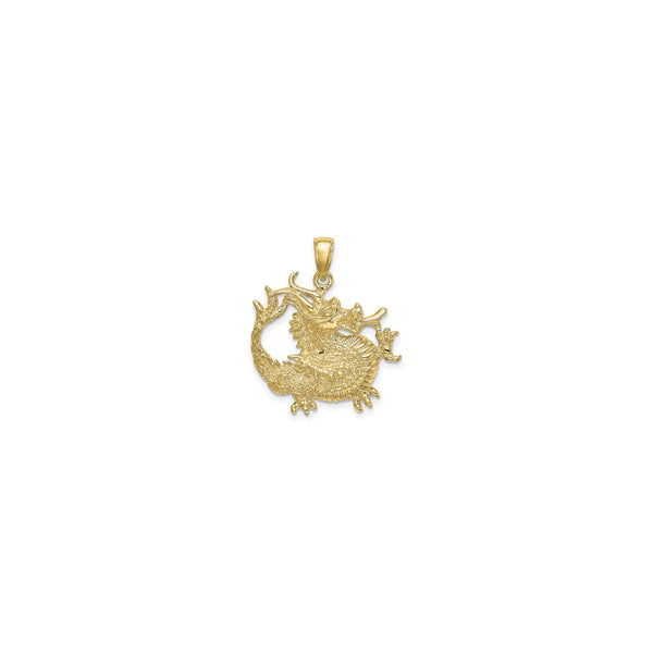 Textured Chinese Dragon Pendant (14K) front - Popular Jewelry - New York