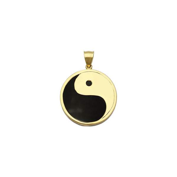 Yin Yang Black Onyx Pendant (14K) front - Popular Jewelry - Нью Йорк