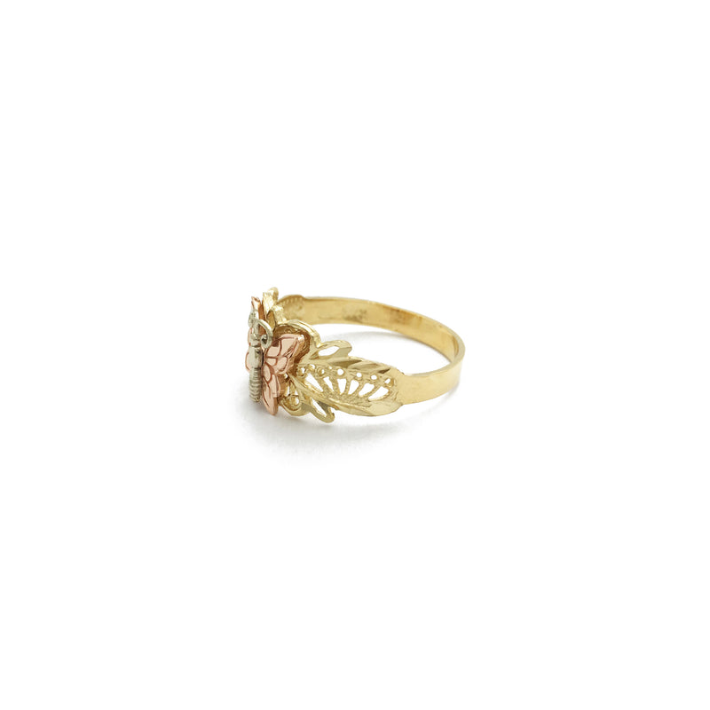 Rose Butterfly Shiny Cut Ring (14K) side - Popular Jewelry - New York