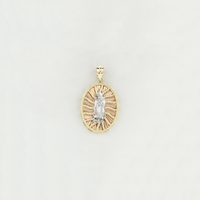 Tri-Color Guadalupe Medallion Pendant (14K) - Popular Jewelry - New York