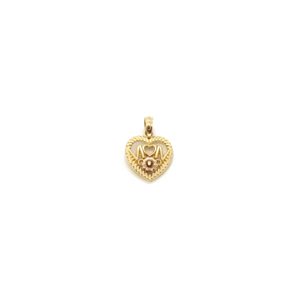 Mom Braided Heart Outline Pendant (14K) front - Popular Jewelry - New York