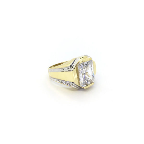 Inel Octogonal Signet CZ (14K) - Popular Jewelry - New York