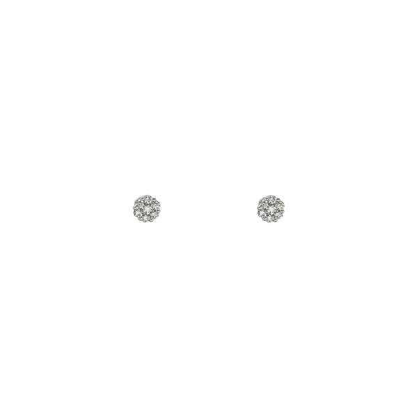 Diamond Cluster Stud Earrings (14K) frente - Popular Jewelry - New York