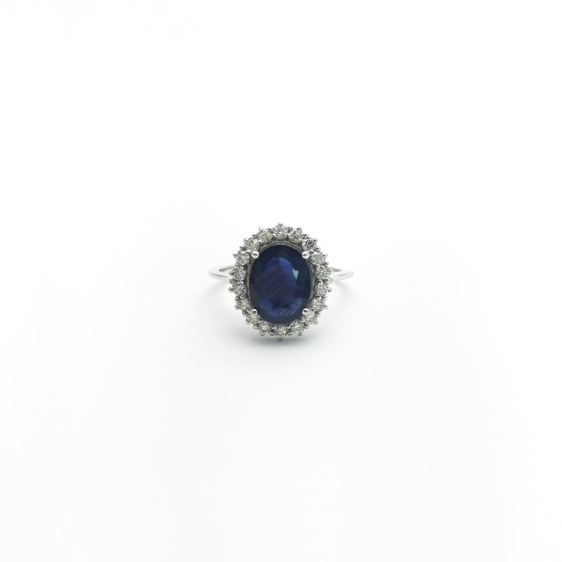 Oval Sapphire with Diamond Halo Ring (14K) front - Popular Jewelry - New York
