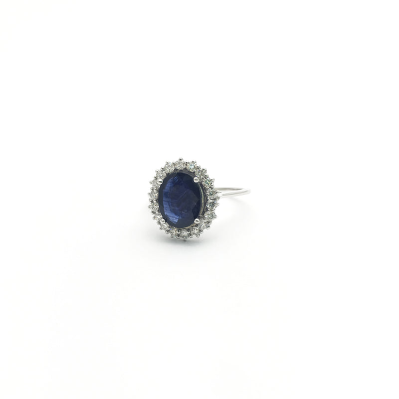 Oval Sapphire with Diamond Halo Ring (14K) side - Popular Jewelry - New York