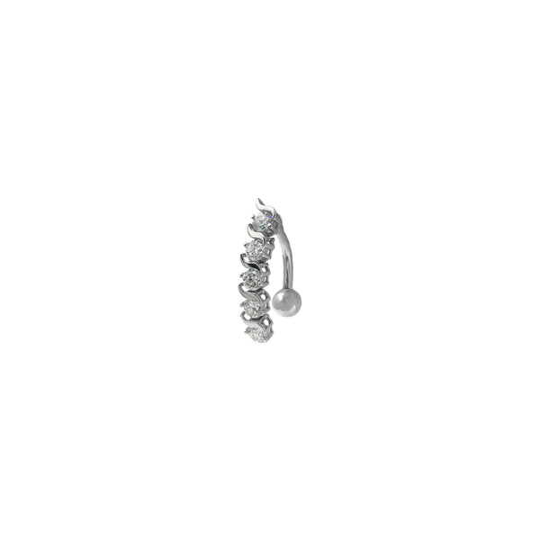 Swirly CZ Navel Ring (14K) diagonal - Popular Jewelry - New York