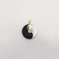 Blessed Yin Yang Black Onyx and Mother of Pearl Pendant (14K) - Popular Jewelry