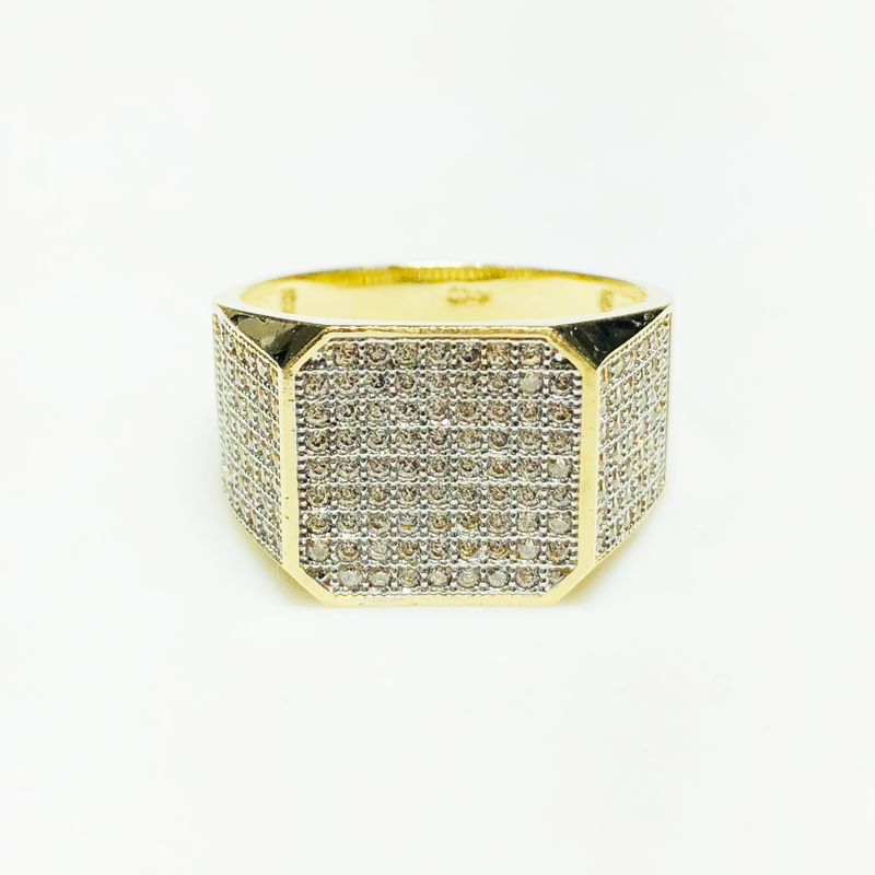 Iced Out Blunt Square CZ Ring 14K Yellow Gold