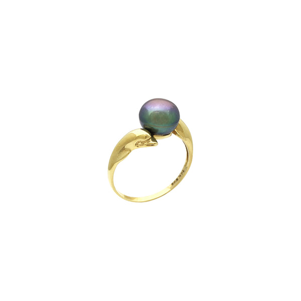 Playful Dolphins Black Pearl Ring (14K) front - Lucky Diamond - Popular Jewelry - New York