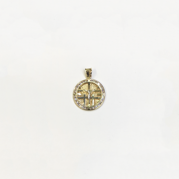 Pendentif médaillon Calvaire CZ (14K) - Popular Jewelry - New York