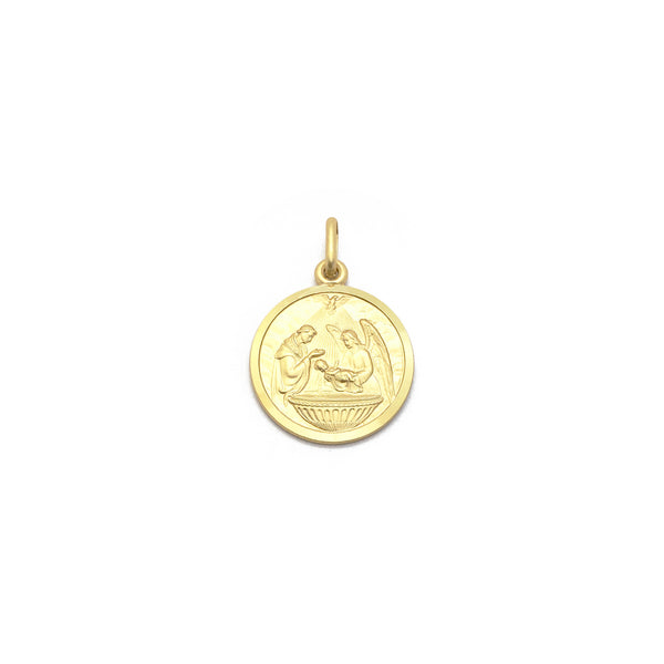 Children's Baptism Italian Medal Pendant (14K) front - Popular Jewelry - New York
