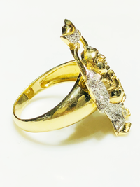 "Iced-Out Diamond ""Buddha of Wealth"" Ring (14K) - Popular Jewelry"