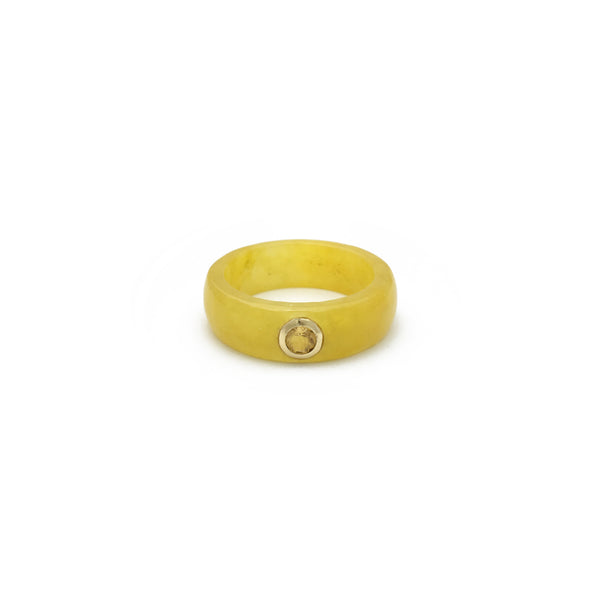 Citrine Solitaire Yellow Jade Ring (14K) front - Popular Jewelry - New York