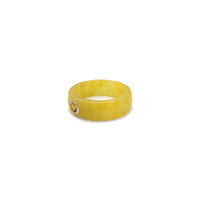 Citrine Solitaire Yellow Jade Ring (14K) side - Popular Jewelry - New York