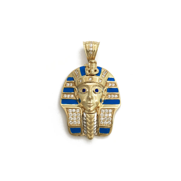 Colorful Icy Pharaoh King Tut Pendant (14K) front - Popular Jewelry - New York
