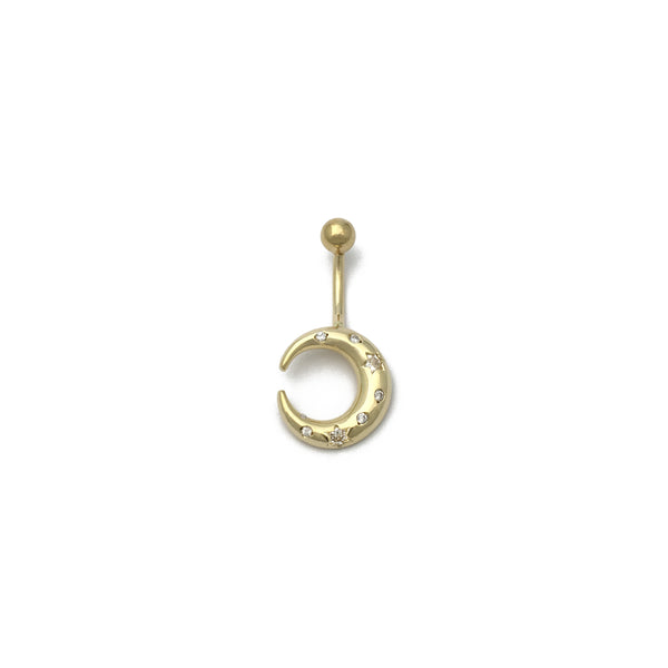 Crescent Moon CZ Navel Ring (14K) front - Popular Jewelry - New York