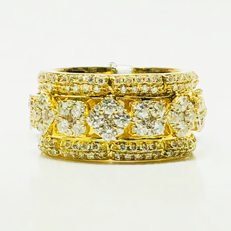 Diamond Patterned Ring 14K Yellow Gold