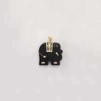 Elephant Black Onyx Pendant (14K) - Popular Jewelry New York