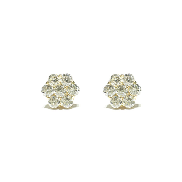 Flat Honeycomb Cluster Diamond Stud Earring (14K) front - Popular Jewelry - New York