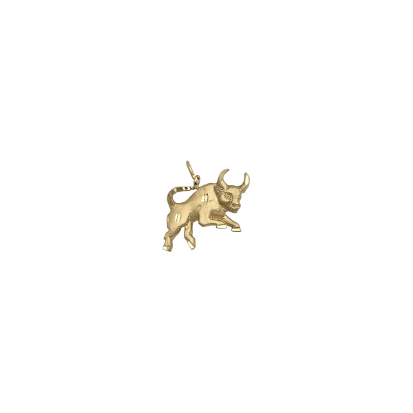 Galloping Bull Pendant (14K) front - Popular Jewelry - New York