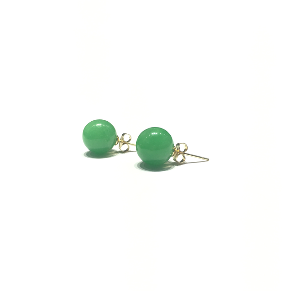 Green Jade Ball Stud Earrings (14K) angle 1 - Popular Jewelry - New York